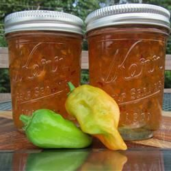 """Habanero Pepper Jelly   """"If chopping habaneros by hand, rubber gloves are recommended since the habanero peppers will burn the skin."""""""