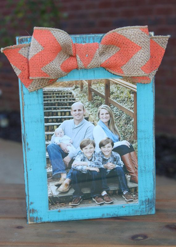 Turquoise Distressed Wood Frame with Coral Chevron Print Burlap Bow by xBeyondBlessedx