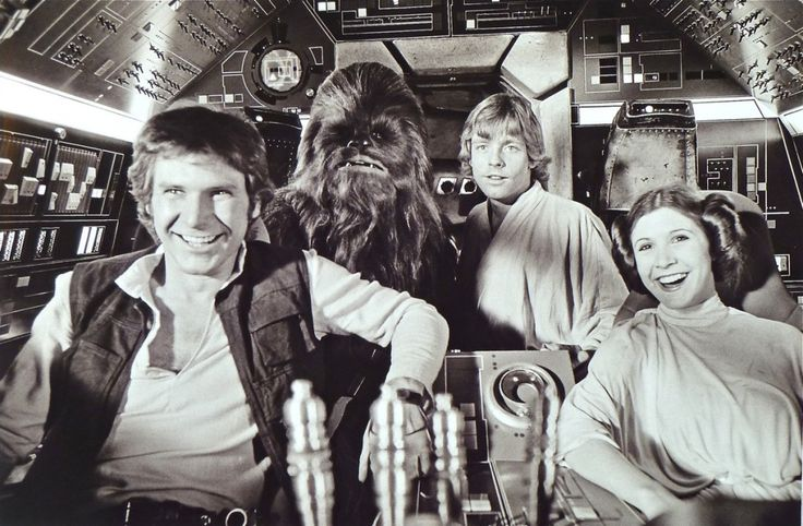 1976 Harrison Ford, Peter Mayhew, Mark Hamill, Carrie Fisher