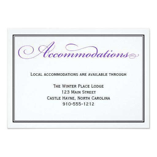 Purple Formal Script Wedding Accommodations Card