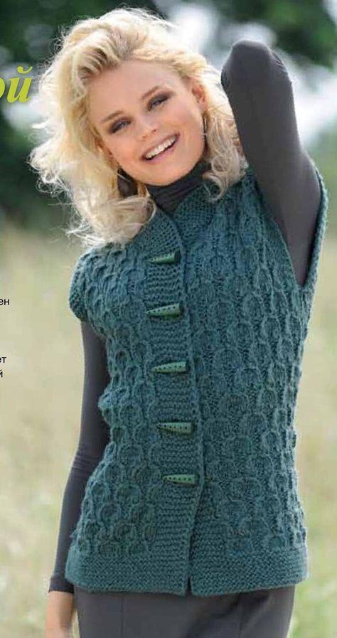 МИР РУКОДЕЛИЯ: Жилет с рельефным узором и шарф-капюшон | Каталог