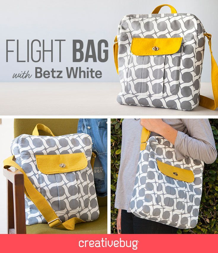 Learn how to make this super cute flight bag. This structured bag offers great opportunities to learn all about bag construction and finishing.: