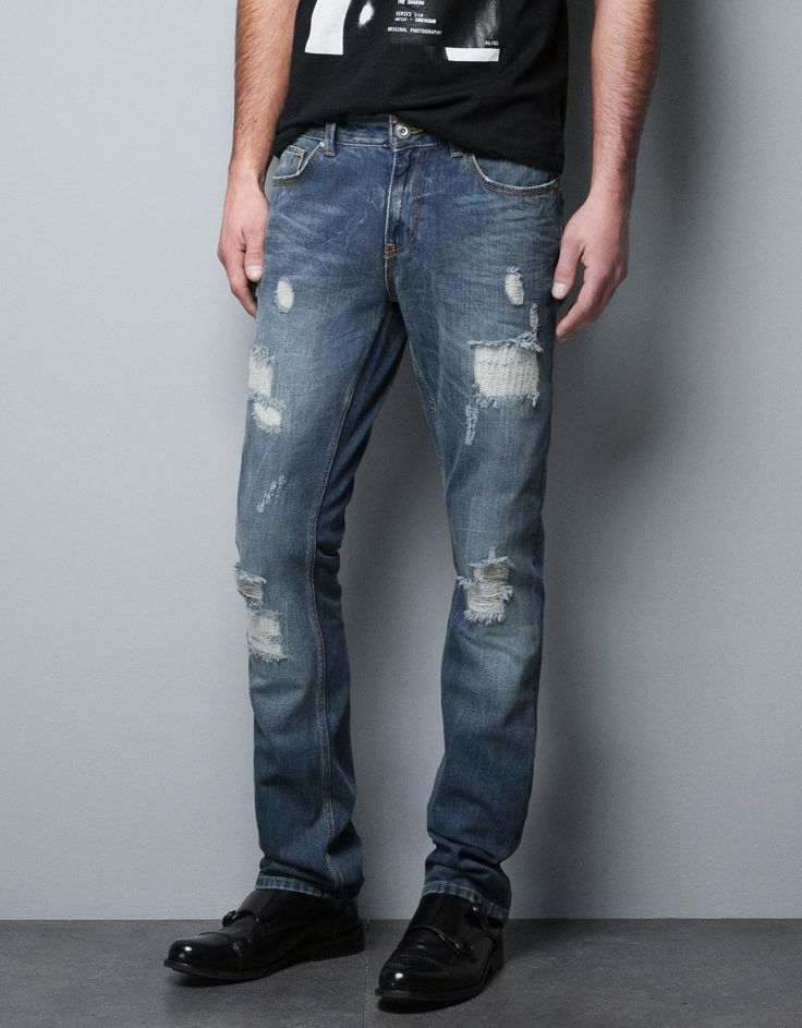 Dark Blue Mens Ripped Jeans