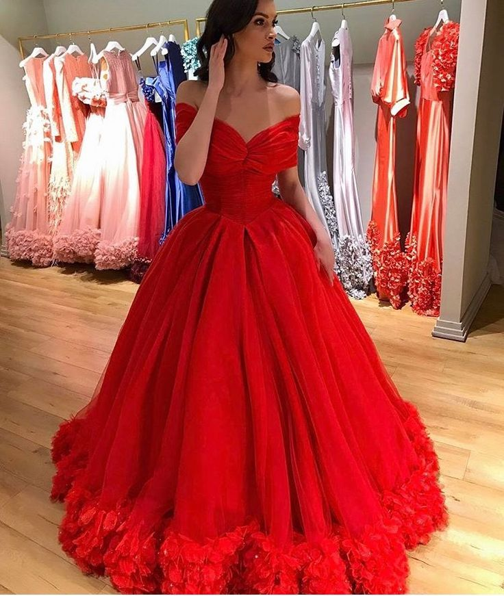 Flowers Princess Sweet 16 Dresses,Ball Gowns Evening Dresses,Off the Shoulder Red Bridal Dresses 2017,Red Capet Dresses
