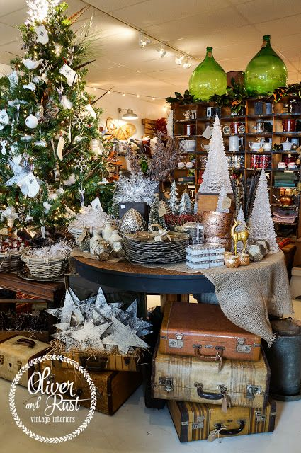 A vintage woodland Christmas.... Visual merchandising. Retail store display. Christmas. Holiday.