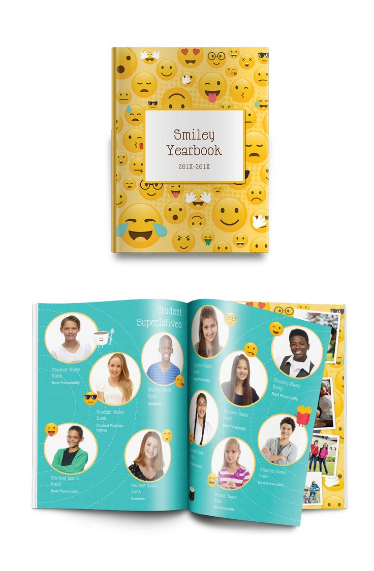 Who doesn't love a good emoji? This playful yearbook theme shows off all our favorite faces—and then some.