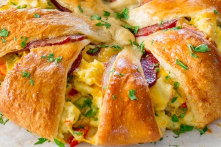 Une présentation originale...L'omelette dans une pâte à croissant