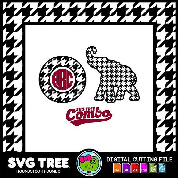 Houndstooth College Monogram Elephant Svg Files Dxf By