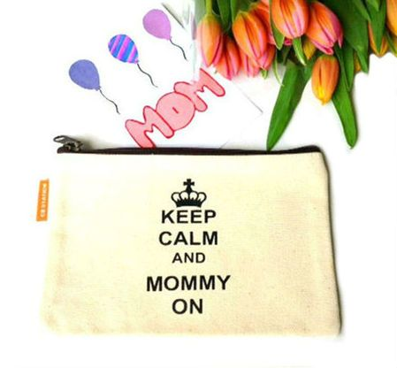 A canvas make up bag just for moms.  Keep Calm and Mommy On.