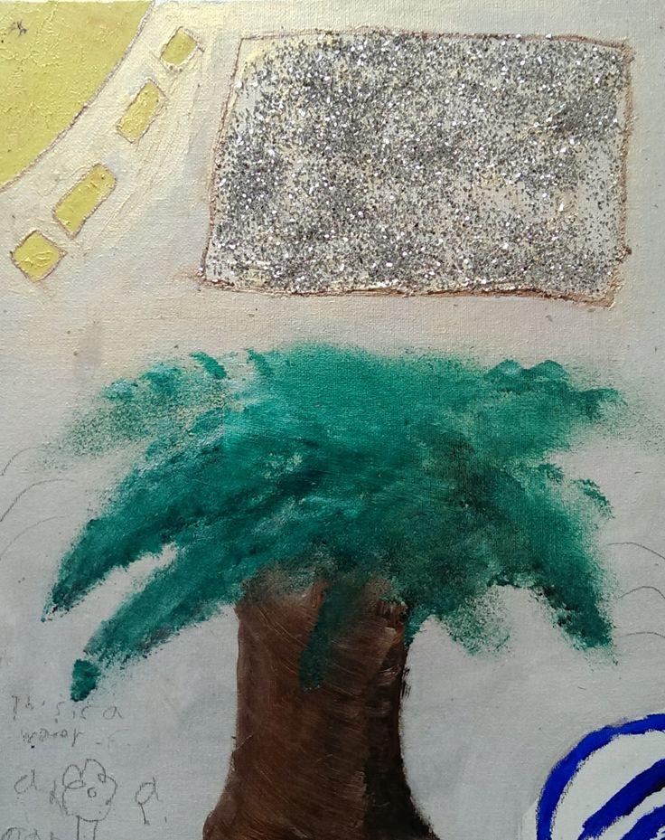 Tree under sun 2014 Acrylic on canvas board with sparkle Artists: 8 year old Kees Cruz-Vanderkraan          & Papa Franz Vanderkraan