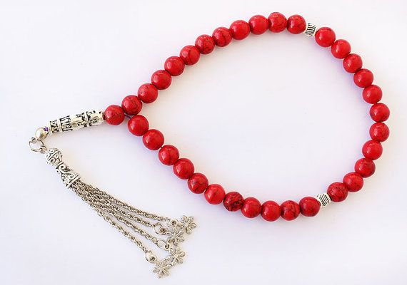 Red Coral Prayer Beads 33 Tasbih Tesbih by asteriascollection