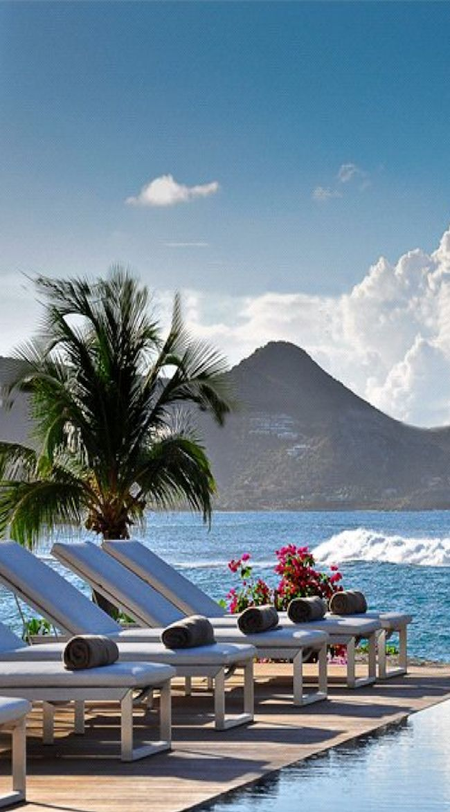 Lorient Bay, St.Barts. Wish I was lying on one of those sunbeds right now!