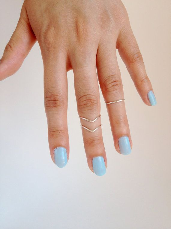 Above the Knuckle Ring Ring Chevron Set, Dainty Rings Midi Stacking Rings This list is for one set of three rings(midi rings): one band, two