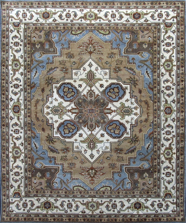 8 x 10 ivory tribal hand knotted wool heriz serapi wool area rug carpet - Area Carpets