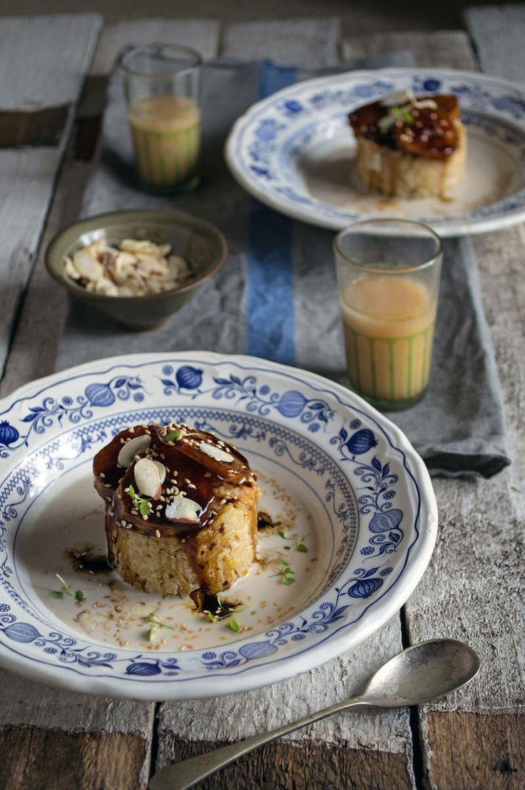 Baked coconut rice pudding with caramelised plantain