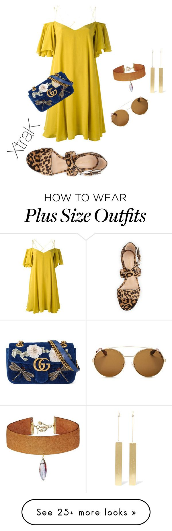 """Plus size fancy vacay night look"" by xtrak on Polyvore featuring Essentiel, Off-White, Vanessa Mooney, Givenchy, Gianvito Rossi and Gucci"