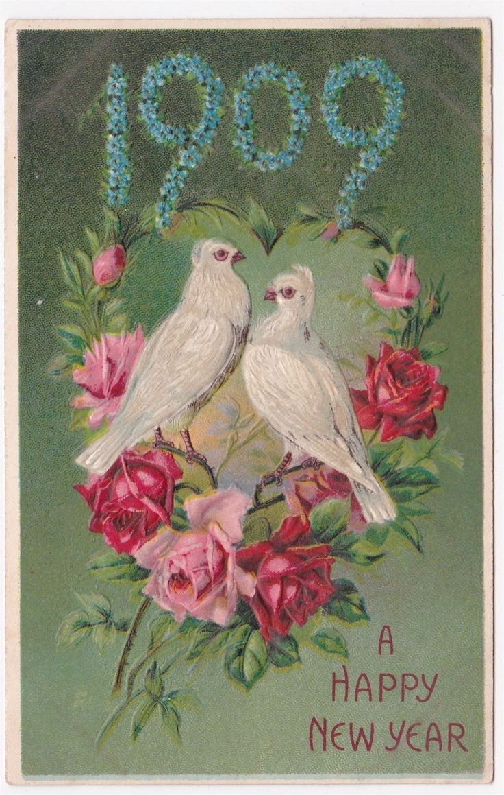 Postcard greetings Happy christmas Doves and Flowers