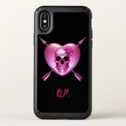 Pink Skull and Heart iPhone Case - flowers floral flower design unique style