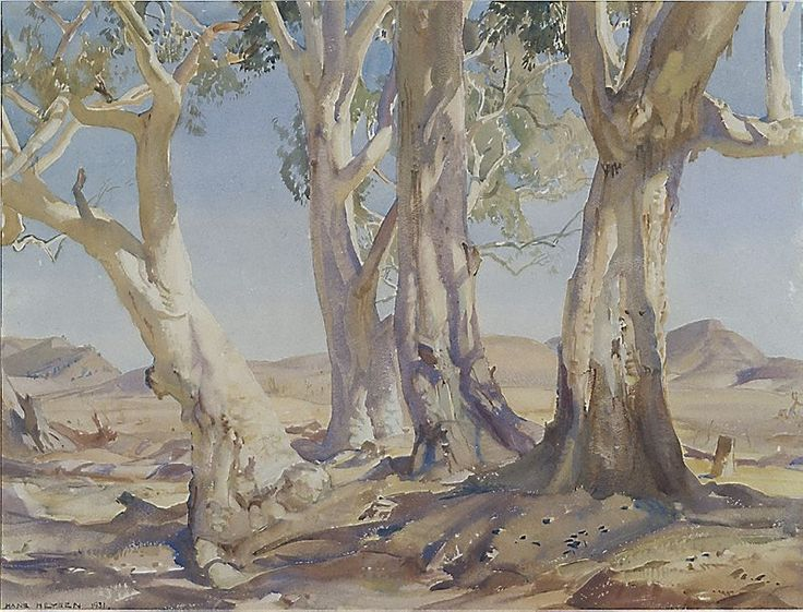 Hans Heysen (Germany, Australia, France 08 Oct 1877–02 Jul 1968) Red gums of the far north, 1931, watercolour on paper, 47.6 x 63.4 cm.   Art Gallery NSW