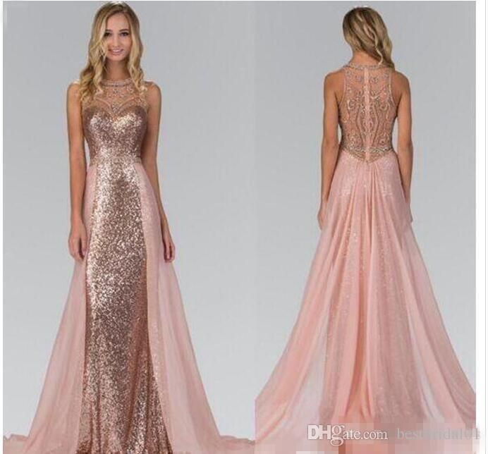 49f3f4e65a4 2018 Chic Rose Gold Sequined Bridesmaid Dresses With Overskirt Train  Illusion Back Formal Maid Of Honor Party Evening Gowns Prom Kids Bridesmaid  Dresses ...