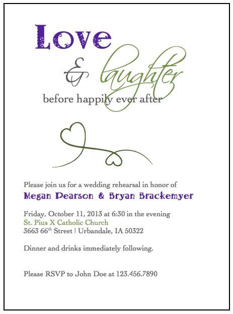 Rehearsal Dinner Invitations :  wedding dinner green invitation invitations purple rehearsal