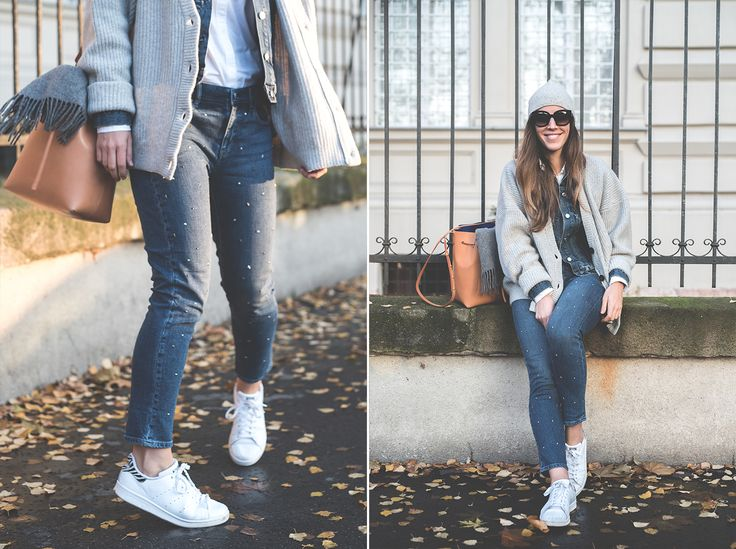 Denim Jacket: GAP | Jeans: GAP | Shirt: GAP | Oversized Cardigan: H&M | Sneakers: Adidas Stan Smith | Bag: Mansur Gavriel | Sunnies: Céline | Beanie: COS.