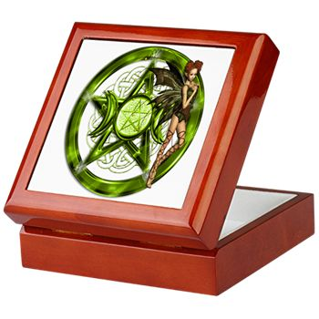 Green Pentacle Fairy - Baby Keepsake Box