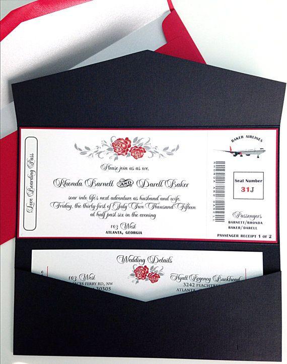 86 best Wedding Invitations, Unique Wedding Programs, Wedding - airline ticket invitation