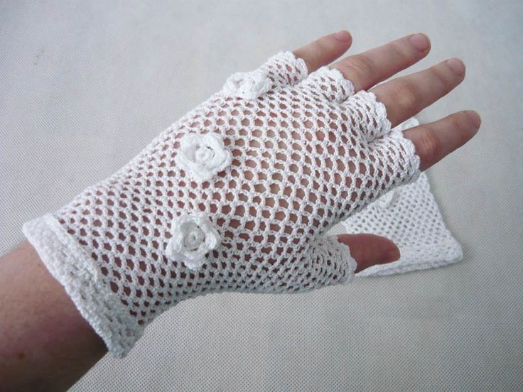 Romantic crochet gloves, crochet Mittens, Fingerless Gloves, Retro Wedding Gloves by MariAnnieArt on Etsy