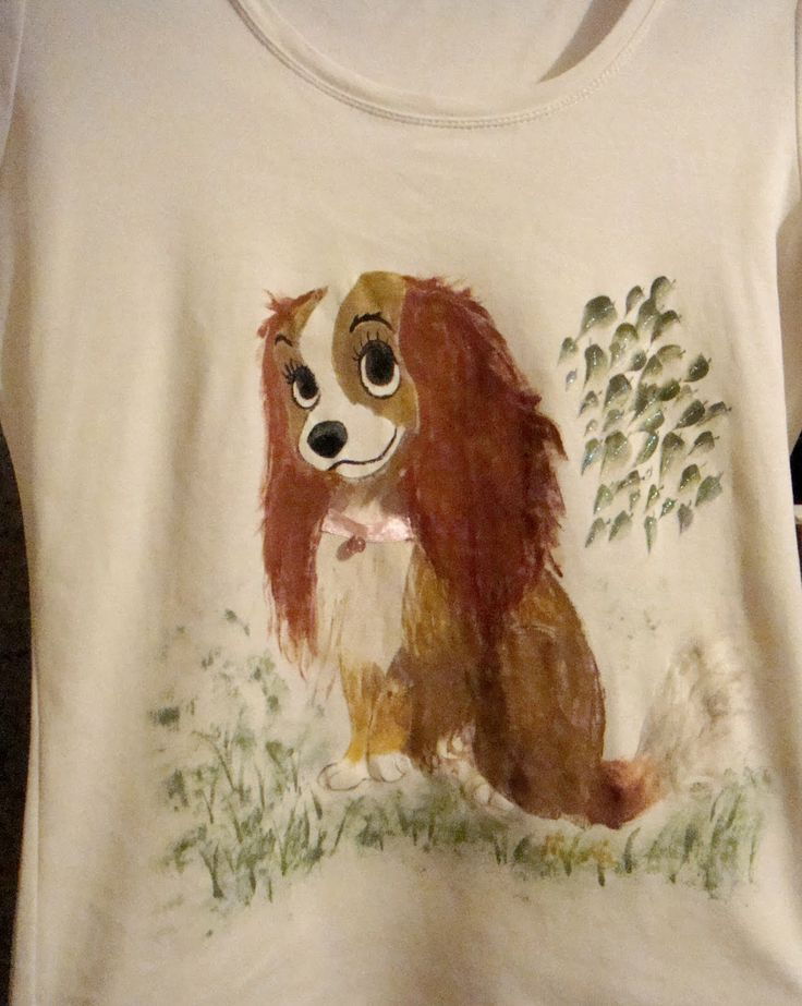 Handmade painted T-shirt with Lady