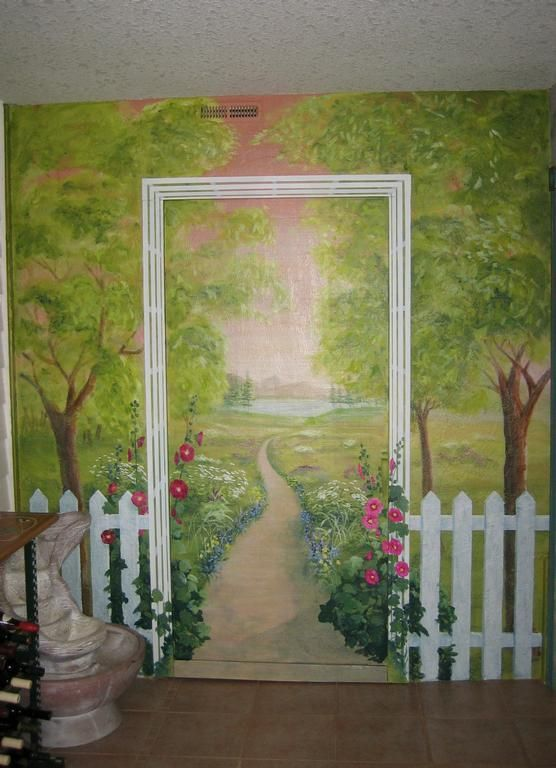 picket fence garden mural.JPG provided by Melissa Barrett Paint Design Wall Murals Portland 97223