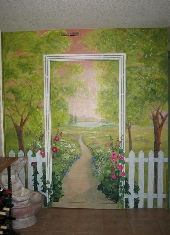 picket fence garden mural.JPG provided by Melissa Barrett Paint Design Wall Murals Portland 97223