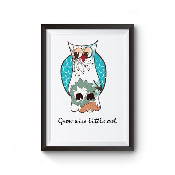 Owl wall art digital print owl nursery wall art by iheartwordart