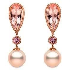 """""""Calypso"""" earrings set in 18k yellow gold with 14-15mm South Sea pearls…"""