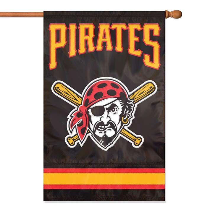 "Pittsburgh Pirates MLB Applique Banner Flag: ""Oversized 44"""" x 28"""" Pittsburgh Pirates banner flag Made… #sports #sportsshopping #sportswear"