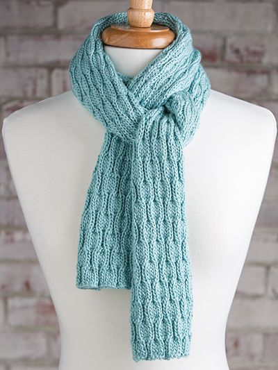 Free Knit Pattern Download -- This Wavy Rib Scarf, designed by Margaret Wilson from Simple Scarves Made with the Knook, reprinted with permission by Leisure Arts, is featured in episode 13, season 5 of Knit and Crochet Now! TV. Learn more here: https://www.anniescatalog.com/knitandcrochetnow/patterns/detail.html?pattern_id=44&series=2