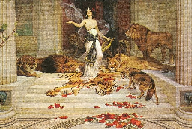 "Circe - Wright Barker (1900); Circe is a goddess of magic (or sometimes a nymph, witch, enchantress or sorceress) described in Homer's Odyssey as ""The loveliest of all immortals"" & lived on the island of Aeaea. She is famous for her part in the adventures of Odysseus. Circe was the daughter of Helios (god of the sun) & Perse (an Oceanid). Circe transformed her enemies into animals through the use of magical potions. She was known for her vast knowledge of drugs & herbs."