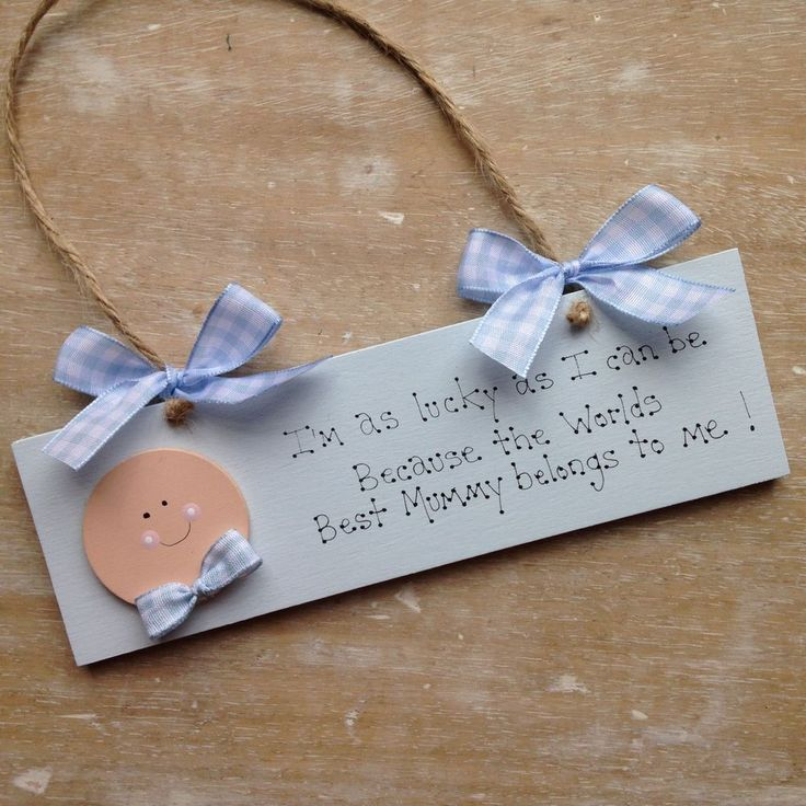 Hand Painted Wooden Sign In Power Blue Perfect Mothers Day or would also make an ideal Birthday gift from your little ones.Can also be made in pink..£8.99