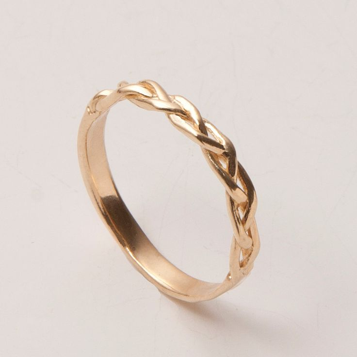 Braided Ring No.4  14K Gold Stackable Ring  Wedding by doronmerav, $260.00