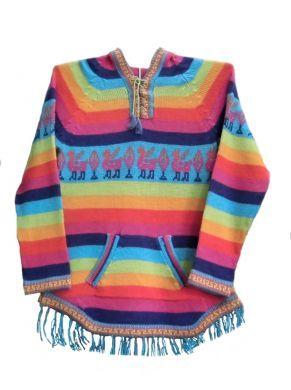 Kapuzen #Pullover mit Fransen Rainbow, aus #Alpakawolle. #Mädchen 8 - 12 Jahre. Farbenfroher Mädchen Kapuzen Pullover mit Fransen.