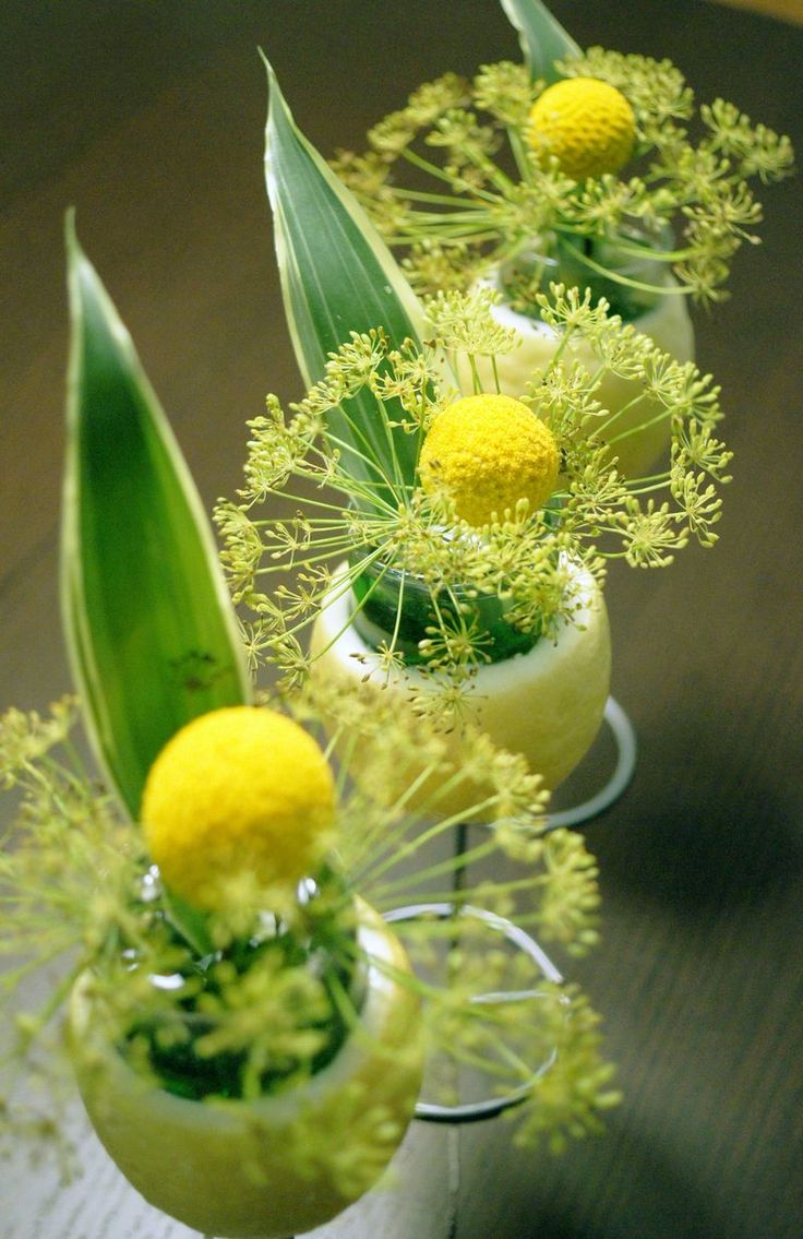 Blooming in a Lemon Arrangements- Place SHOT GLASSES in Lemons + then make your Arrangements inside the lemon covered shot glasses!
