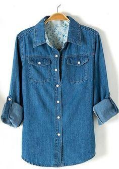 Long Sleeves Turn-down Collar Slim Denim Blouse