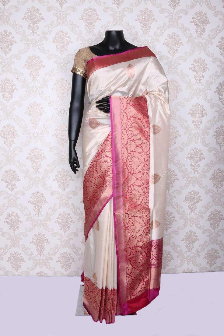 Metallic off #white pure #banarasi silk #stylish saree with zari #weaved pallu -SR12220