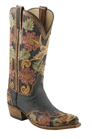 Lucchese | Womens Lucchese Classics Black Buffalo Hand Tooled Destroyed Finish ...