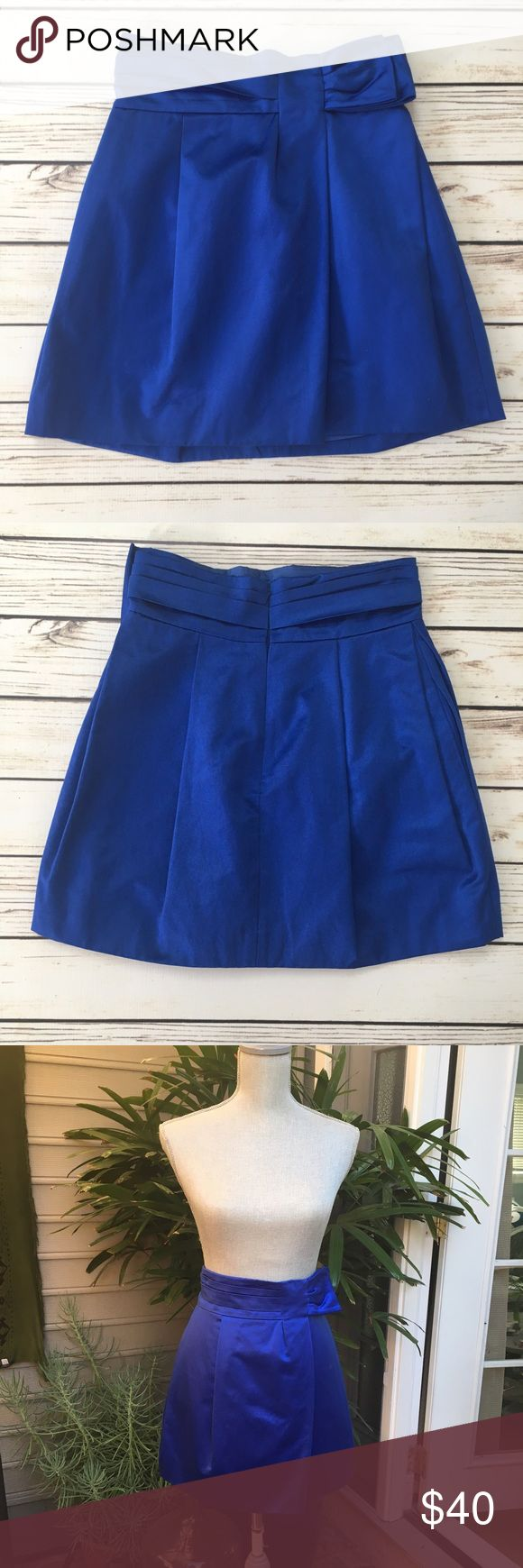 BCBG MAXAZRIA Electric Blue Satin Mini Skirt BCBG MAXAZRIA Electric Blue Satin Mini Skirt. Worn once. As is. In excellent condition. Very chic and in an eye popping on trend color. BCBGMaxAzria Skirts Mini