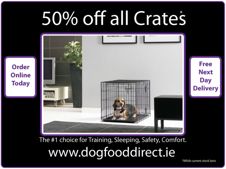 Collapsable metal wire dog crate. Dog crates are the ideal way for travelling and housetraining your dog. But dog crates can also be used for prevention and assistance in resolving behavarioul problems. Finally, dog crates provide a secure and safe place to sleep. We Highly recommend using Profleece Pet Bedding. www.dogfooddirect.ie