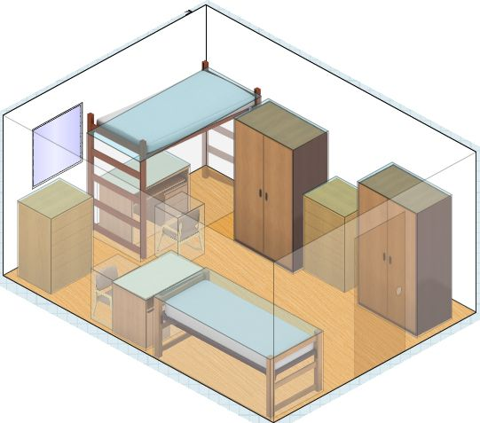 A few dorm room layout ideas! I think I'll work on a few layout ideas of my own when I have free time during break with http://www.homestyler.com/designer =)