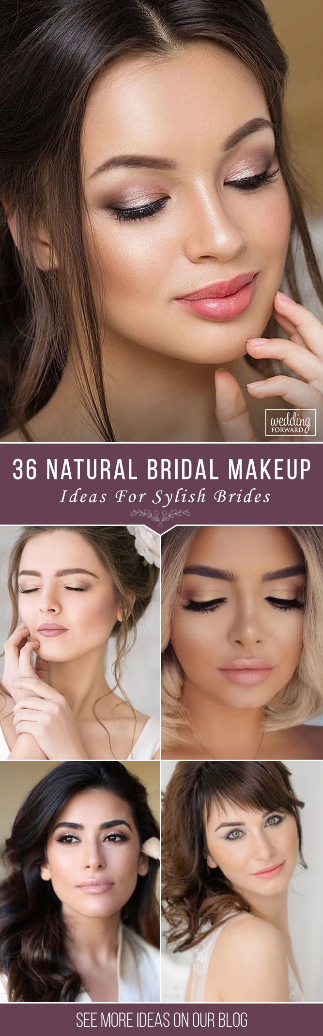 36 Ideas For Natural Bridal Makeup ❤ Natural bridal makeup is a good choice to make your look tender and romantic. Look our collection of natural makeup ideas. See more: http://www.weddingforward.com/natural-bridal-makeup/ #wedding #bride #naturalbridalmakeup