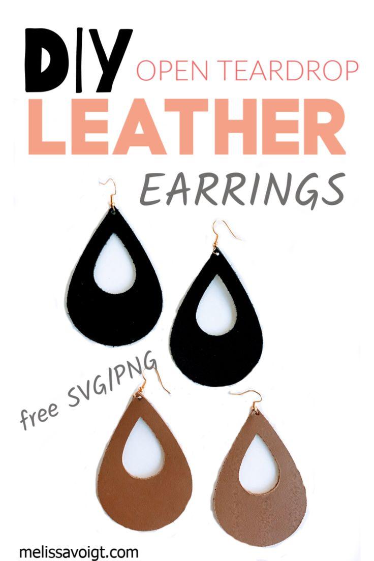 Download SVG OPEN TEARDROP LEATHER EARRING TEMPLATE | Diy leather ...