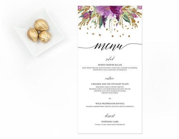 Menú, carta de oro y púrpura, menú Floral púrpura de la boda de flores de color púrpura